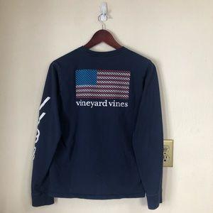 Vineyard Vines Youth American Flag Blue Shirt